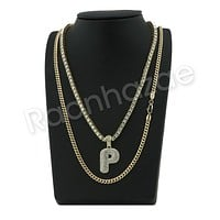 "P INITIAL BUBBLE PENDANT W/ 24"" MIAMI CUBAN /18"" TENNIS CHAIN NECKLACE"