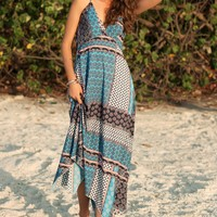 Tribal Print Asymmetrical Hem Cami Dress