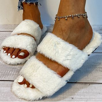 Flocking flat-heeled thick-soled suede warmth in-line plush slippers women