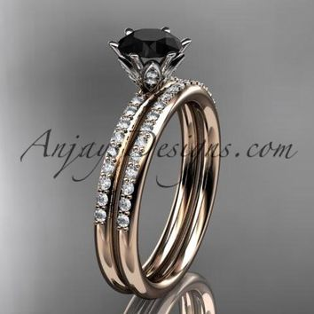 14kt rose gold diamond unique engagement set, wedding ring with a Black Diamond center stone ADER145S