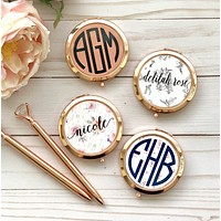 ROSE GOLD | GOLD  Compact Mirrors, Bridesmaid Gifts, Personalized Compact Mirror