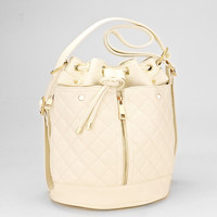 Quilted Leather Drawstring Tassel Bucket Bag, Convertible Baby Backpack