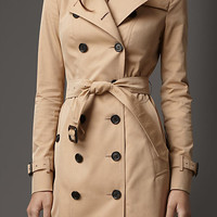 Long Slim Fit Gabardine Trench Coat With Warmer