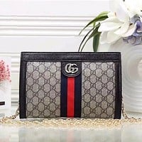Gucci Women Shopping Fashion Leather Chain Satchel Shoulder Bag Crossbody