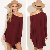 2016 Long Long Sleeve Off Shoulder Solid Handkerchief Casual Party Playsuit Clubwear Bodycon Boho Dress _ 9111