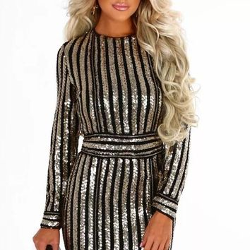Sequin Silver Cocktail Dress