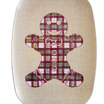 Christmas Melamine Platter with Gingerbread Man in Plaid on Burlap
