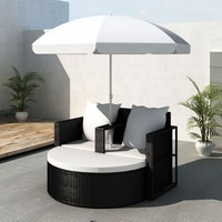 Patio Outdoor Black Furniture Rattan & Wicker Lounge Set Sunbed Sofa w/ Parasol