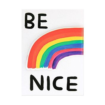 Be Nice Card + Puffy Sticker Combo