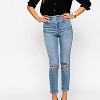 ASOS Farleigh Slim Mom Jeans in Prince Light Wash with Busted Knees at asos.com