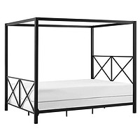 Queen Size Modern Black Metal Four-Poster Canopy Bed Frame