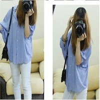 Sexy Women's Batwing Sleeve Boyfriend T Shirt Loose Top Button Down Collar Blous
