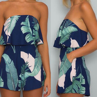 Women's Tropical Navy Palm Leaf Floral Print Tube Style Shorts Romper Set with Pockets