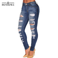 Dear lovers New 2016 ladies Light Denim Ripped Pencil Jeans LC78647 Blue Denim Destroyed Whisker Wash skinny jeans woman LC78648
