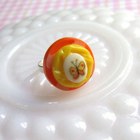 Yellow and Orange Butterfly Ring - Layered Button Ring - Vintage Buttons - Vintage Cabochon - Adjustable Ring
