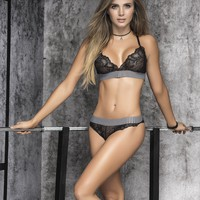 Sporty Trim Lace Bra Set