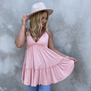 Summer Time Jersey Babydoll Tunic in Pink