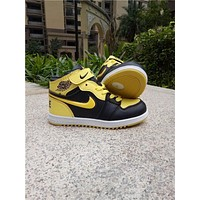 Kids Air Jordan 1 Yellow Sneaker Shoe