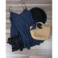 Coming Up For Air Flowy Dress in Midnight Navy
