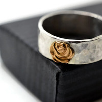 14k Gold Rose Ring, Silver and Gold Ring, Engravable Ring, Custom Engraving, Gold Flower Jewelry