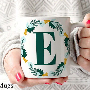 Monogram Coffee Mugs, Personalized Coffee Mugs, Custom Name Mugs, Christmas Coffee Mugs, Coffee Mugs for Her, Monogram Gifts for Her (PC111)
