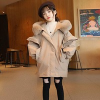 Girls' fashionable plush coat warm and lovely top