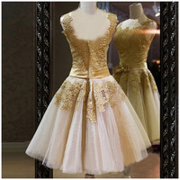 2014Cheap Little Dress Round Neck Shoulders Organza Mini Light Gold Above Knee Lace Bridesmaid Dress Prom Dress Cocktail Gown Formal Gown