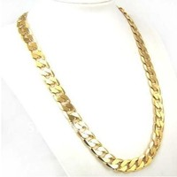 Factory Price 24inch 10mm 18K GP Yellow Gold Plated Men Chain Necklace African Classic Jewelry = 5987587265