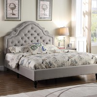 """New Century® Light Gray Upholstered 51"""" Inches Padded Headboard Platform Bed"""