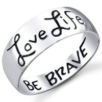 Footnotes Love Life, Be Brave Ring 8 Ring: Jewelry: Amazon.com