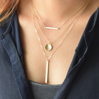 Layered Bar Necklace Set