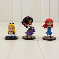9cm 3pcs/lot Q posket Princess Toys The Little Mermaid Ariel Alice in Wonderland Esmeralda pvc figure doll best gifts for girls