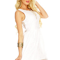 White Floral Netted A-Line Summer Dress