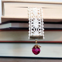 Lace Bookmark with Vintage Berry