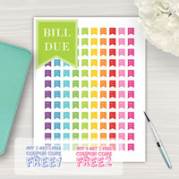 Bill Due Flags, Printable Planner Stickers, Flag Stickers, Plum Planner, Filofax, Instant Download