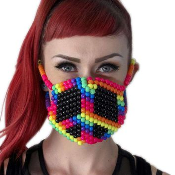 Rainbow Peace Sign Kandi Mask
