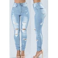 High-waisted Broken Holes Baby Blue Jeans