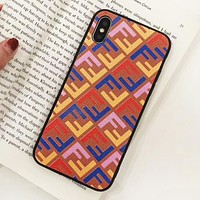 Fendi Fashion New Letter Print Couple Personality Leather Phone Case Protective Cover