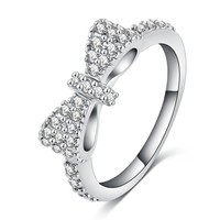 Luxury Lovely Bow Rings Rose Gold / Platinum Plated Micro Inlay Full Cubic Zirconia Romantic Jewelry Party Rings CRI0143