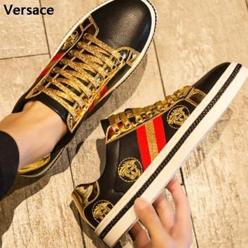 Versace New fashion embroidery human head shoes men Black