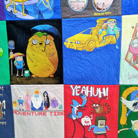 Adventure Time and Regular Show t-shirts made into a quilt with Jake and Finn & Mordecai and Rigby.