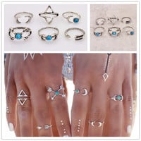 Silver and Turquoise Moon and Arrow Ring Set