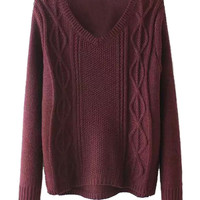 Wine Red V Neck Cable Detail Side Split Long Sleeve Jumper