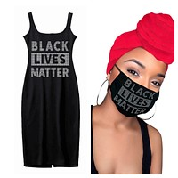 BLack Lives Matter Facemask, Headwrap & Dress - Red