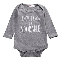 Autumn Infant born Baby Girl Boy Letters Romper Cotton Gray Jumpsuit Long Sleeve Outfit Clothes