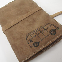 Leather Journal - Leather Sketchbook Cover - Personalize - Monogram - Volkswagon