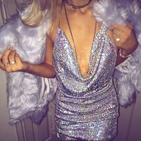 Hot! Front Draped Backless Halter Sparkle Women's Sequin Dress Shinny Mini Party Dresses Sleeveless Sexy Show Club Wear New