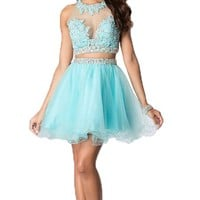 Felaladress® Blue Two Piece Crystal Beaded Short Ball Gown Prom Dress
