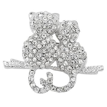 Cats Perched Jeweled Silver Bar Pin
