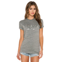 Gray Short Sleeves Silver Metallic Letter Print Loose T-Shirt